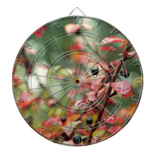 Fall Leaves and Berries in Teal and Red Dartboards
