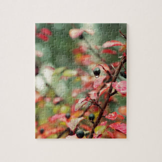 Fall Leaves and Berries in Teal and Red Jigsaw Puzzles
