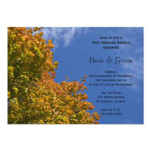 Fall Leaves and Blue Sky Post Wedding Brunch Card