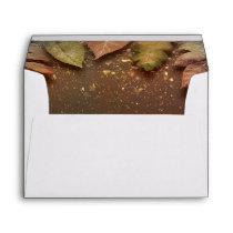 Fall Leaves and Gold Glitz Wedding Envelope