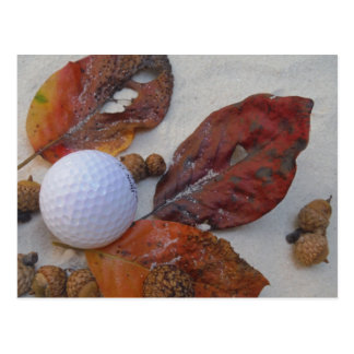 fall leaves and golf ball in sand trap postcard