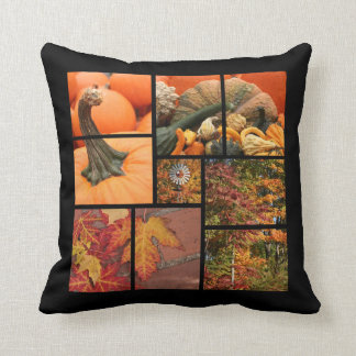 Fall Leaves and Pumpkins Throw Pillow