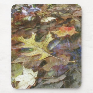 Fall Leaves At The Edge Of The Pond Mouse Pad