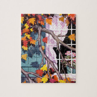 Fall Leaves At the Window Jigsaw Puzzle