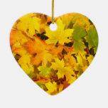 Fall Leaves Autumn Colors Leaf Design Ceramic Ornament