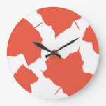 Fall Leaves Autumn Colors Orange Leaf Pattern 2020 Large Clock