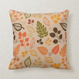 Fall Leaves Autumn Foliage Pattern Throw Pillow