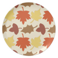 Fall Leaves Autumn Leaf Pile Oak Brown Maple Tree Melamine Plate