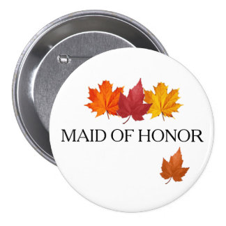Fall Leaves - Autumn Maid of Honor Button Pin