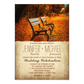 Fall Leaves Autumn Park Bench Wedding Invitations