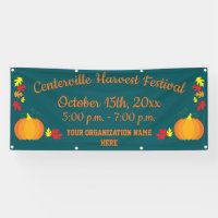 Fall Leaves Autumn Pumpkin Harvest Festival Banner
