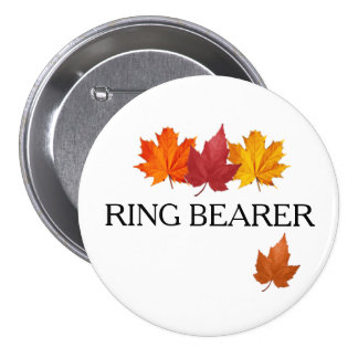 Fall Leaves - Autumn Ring Bearer Button Pin