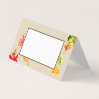 Fall leaves autumn tent food cards
