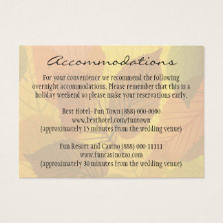 Fall Leaves Autumn Wedding Insert Reception Cards