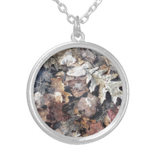 Fall Leaves Autumn - Winter Watercolor Art Silver Plated Necklace