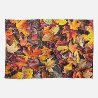 Fall leaves background towel
