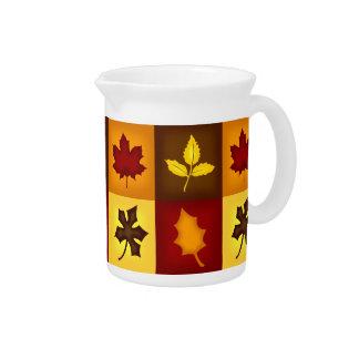 Fall Leaves Beverage Pitcher -Autumn Kitchen Decor