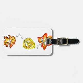 Fall Leaves Border Bag Tag