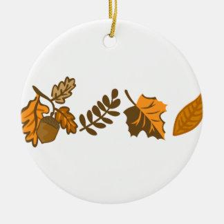 Fall Leaves Border Ceramic Ornament