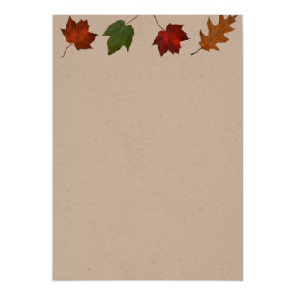 Fall Leaves Border Kraft Paper Blank Invitations