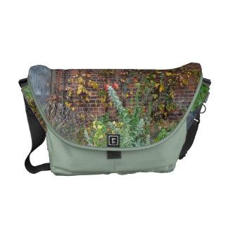 Fall Leaves & Brick Building Messenger Bag