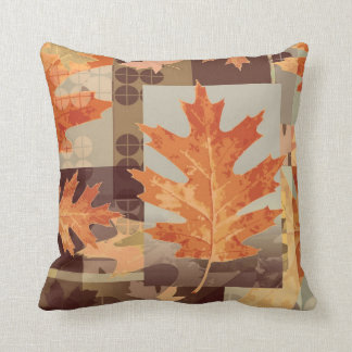 Fall leaves brown orange theme decor pillow