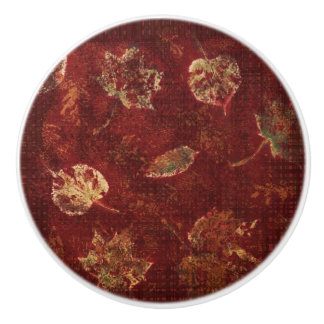 Fall Leaves Burgundy and Green Stencil and Gingham Ceramic Knob