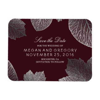 Fall Leaves Burgundy Silver Save the Date Magnet