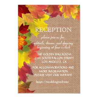 Fall Leaves Burlap Wedding Reception Enclosure Card