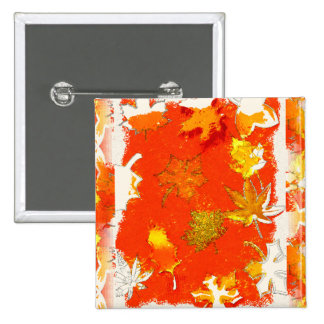 FALL LEAVES 2 INCH SQUARE BUTTON