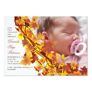Fall Leaves Cascade Photo Birth Announcement