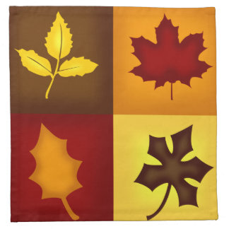 """Fall Leaves Cloth Cocktail Napkins - 12"""" x 12"""" - 4"""
