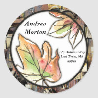Fall Leaves Collage Classic Round Sticker