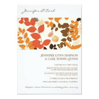 Fall Leaves Collage Wedding Invitation