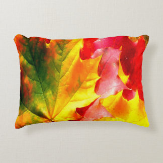 Fall Leaves Colorful Yellow, Green, Red Accent Pillow