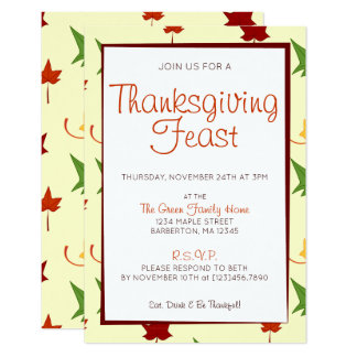 Fall Leaves:  Customized Thanksgiving Invitation