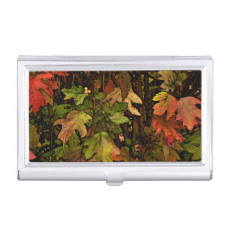 FALL LEAVES/DIG.MANIP./PAINTERLY EFFECT BUSINESS CARD CASE