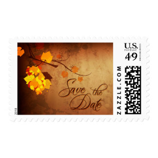 Fall leaves distressed save the date wedding stamp