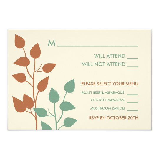 Fall Leaves Double Boughs Wedding RSVP Cards 2