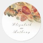 Fall Leaves Elegant Wedding Classic Round Sticker