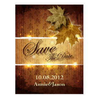 fall leaves fall wedding save the date postcard