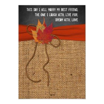 Halloween Themed Fall Leaves FAUX Burlap, Chalkboard Wedding Invite