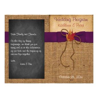 Fall Leaves FAUX Burlap Chalkboard Wedding Program Custom Flyer