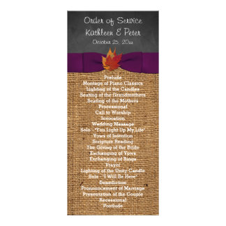 Fall Leaves FAUX Burlap Chalkboard Wedding Program Personalized Rack Card