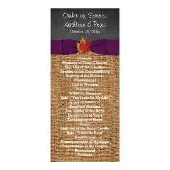 Fall Leaves FAUX Burlap Chalkboard Wedding Program Personalized Rack Card