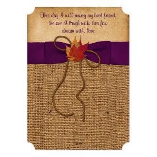 Fall Leaves FAUX Burlap, Wedding Invite - Purple