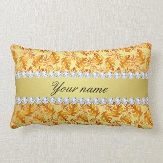 Fall Leaves Faux Gold Foil Bling Diamonds Lumbar Pillow