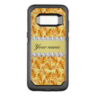 Fall Leaves Faux Gold Foil Bling Diamonds OtterBox Commuter Samsung Galaxy S8 Case