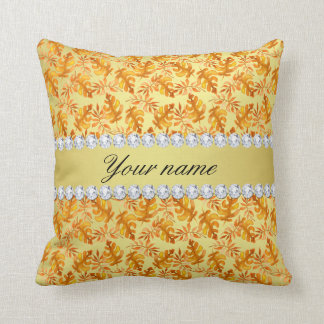 Fall Leaves Faux Gold Foil Bling Diamonds Throw Pillow