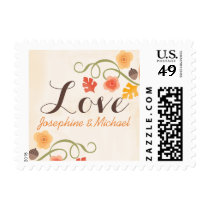 Fall Leaves Floral Acorn Wedding Love Postage